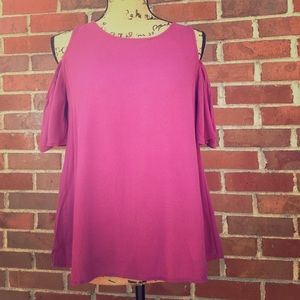 Loft Purple Cold Shoulder Top Size Small
